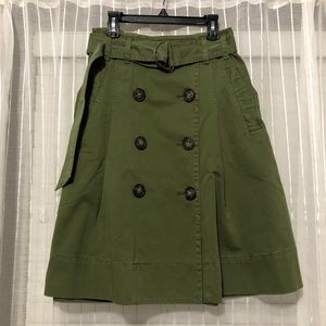 J. Crew Olive Chino Military Belted A-Line Skirt